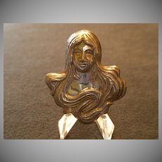 "Sterling Silver Art Nouveau ""Lady"" Brooch"