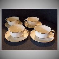 "Set of 4 Haviland & Co. Limoges ""Ranson w/Gold Cups & Saucers, Blank #1"