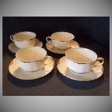 """Set of 4 Haviland & Co. Limoges """"Ranson w/Gold Cups & Saucers, Blank #1"""