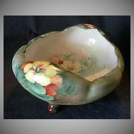 Bavaria Hand-Painted Footed Nut/Candy Bowl with Nasturtium Flowers Decoration