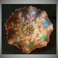 "Fenton Marigold Carnival ""Holly"" Pattern Flared Bowl"
