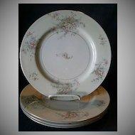 "Set of 4 Theodore Haviland, New York ""Apple Blossom Pattern 10 1/8"" Dinner Plates"