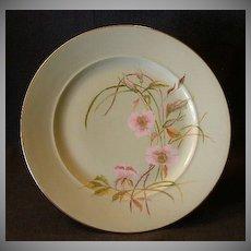 Early David or Charles Haviland H.P. Plate w/Wild Roses Motif