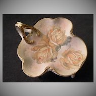 "Royal  Bayreuth ""Rose Tapestry"" Pin Tray in Clover-Leaf Shape w/Handle"