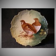 Lazeyras, Rosenfeld & Lehman (L R L) Limoges Game Plate w/Two Birds