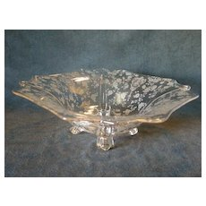 "Cambridge Etched Clear Glass ""Rose Point"" Pattern Square 4-Toed Bowl"