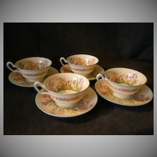 "Josiah Wedgwood & Sons ""Prairie Flowers"" Pattern Footed Cups & Saucers - Set of 4"