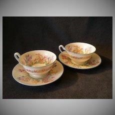 "Josiah Wedgwood & Sons ""Prairie Flowers"" Pattern Footed Cups & Saucers - Set of 2"