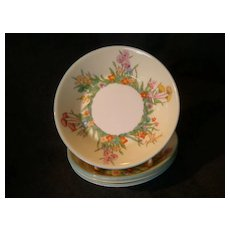 "Josiah Wedgwood & Sons ""Prairie Flowers"" Pattern Fruit Dishes - Set of 4"