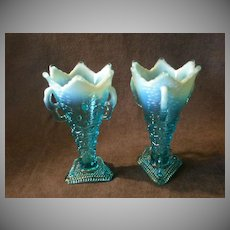 "Pair of Jefferson Glass Co. ""Aurora Borealis"" Pattern Blue Opalescent Vases"