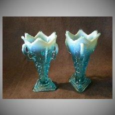 "Pair of Jefferson Glass Co. ""Aurora Borealis"" Pattern Blue Opalescent Vases"