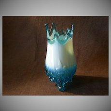 "Sowerby Glass Company Blue Opalescent ""Piasa Bird Vase"" - United Kingdom"