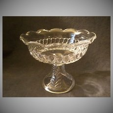 "Early American Pressed Glass ""Plume"" Pattern Compote w/Scalloped Rim"