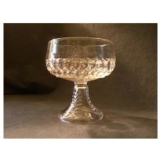 """Early American Pressed Glass """"Plume"""" Pattern Compote w/Smooth Rim"""