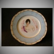 "Haviland & Co. Limoges Hand-Painted ""Portrait"" Plate of Beautiful Lady"