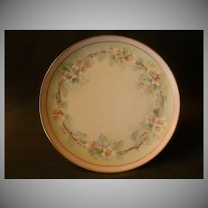 White's Art Company Hand Painted Cabinet Plate w/Apple Blossom Motif