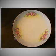 J. H. Stouffer Hand Painted Cabinet Plate w/PInk Roses & Purple Floral  Decoration