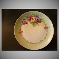 J. H. Stouffer Hand Painted Cabinet Plate w/Vivid Pansy Floral Motif