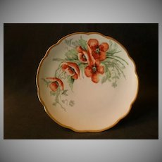 Home Studio Hand Painted Cabinet Plate w/Orange Poppy Floral Motif