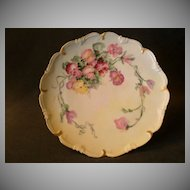 Vienna Austria Home Studio Hand Painted Cabinet Plate w/Multi-Colored Pansy Floral Motif