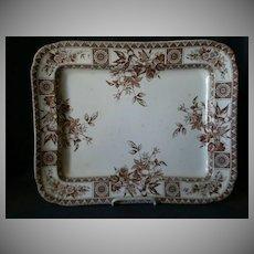 "Wallace Gimson & Co. ""Garfield"" Pattern Brown Transfer-ware Platter"