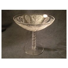 """Tiffin """"June Night"""" Pattern Round Beaded Stem Compote"""