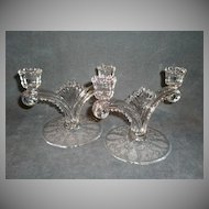 "Pair of Tiffin ""June Night"" Pattern Double Candlesticks"