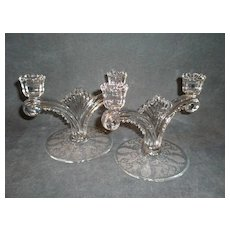 """Pair of Tiffin """"June Night"""" Pattern Double Candlesticks"""
