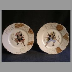 Pair of Charles Haviland Hand Painted Cabinet Plates w/Oriental Samurai Warrior Figures