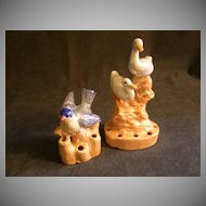 Pair of  Made in Japan Figural Flower Frogs -  Blue Bird & Pair of Geese