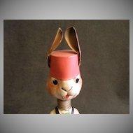 German Paper Mache Bobble Head Rabbit Playing a Drum - Circa 1930