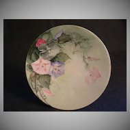 Jean Pouyat (JPL) limoges Hand-Painted Cabinet Plate w/Morning Glory Floral Motif