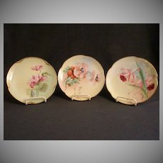 Set of 3 - Pickard Hand Painted Cabinet Plates w/FLoral Motifs