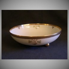 """Shamrock Pattern"" Hand Painted Porcelain Round Footed Serving Bowl"