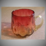Amberina Glass Punch Cup in Inverted Diamond Pattern w/Reeded Handle