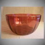 Amberina Glass Punch Bowl w/Inverted Optic Panel Design