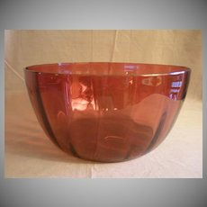 Amberina Glass Punch Bowl w/Inverted Optic Panel Design