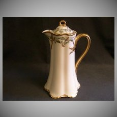 "Charles Haviland & Co. Limoges ""Green & Gold Floral"" Chocolate Pot - Schleiger H1102 Variant , Blank 1 Ranson"