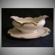 """Charles Haviland & Co. Limoges """"Silver Anniversary"""" Gravy/Sauce Boat w/Attached Under-plate - Schleiger #19"""