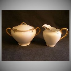 "Charles Haviland & Co. Limoges ""Silver Anniversary"" Sugar Bowl & Cream Pitcher Set - Schleiger #19"