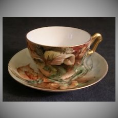 T & V Limoges Hand Painted Cup & Saucer w/Hazel Nuts & Leaves Motif