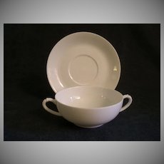 "Charles Haviland & Co. Limoges ""Smooth Blank/White"" - Set of 2 -  Cream Soups w/Saucers"