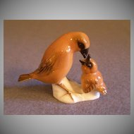 "Hutschenreuther Porcelain ""Mother Bird Feeding Chick"" Figurine - K. Tutter"