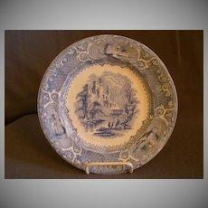 "E Challinor & Co. Blue Transfer-ware ""Priory"" Pattern Ironstone Plate"