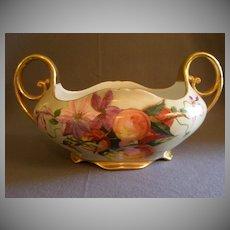 Austria Painted Handled Console Bowl w/Floral & Fruit Motif