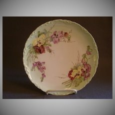 Theodore Haviland Hand Painted Cabinet Plate w/Pansy Floral Motif