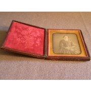 Antique Union Case w/Daguerrotype of Victorian Lady