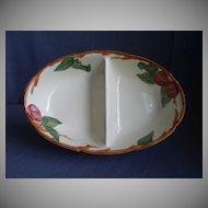 """Vintage Franciscan China """"Apple"""" Pattern Oval Divided Vegetable Bowl"""