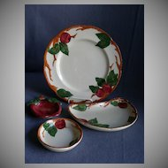 "Vintage Grouping Franciscan China ""Apple"" Pattern Luncheon, Crescent Salad, Coaster & Ashtray"