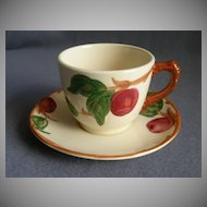 "Set of 4 Vintage Franciscan China ""Apple"" Pattern Cups & Saucers"